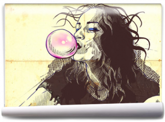 Fototapeta - young woman blowing bubble from chewing gum
