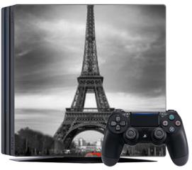 Naklejka na konsolę - Tour Eiffel et voiture rouge- Paris
