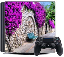 Naklejka na konsolę -  Tętniąca życiem ścieżka kwiatowa w Capri, Włochy