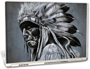 Naklejka na laptopa - Tattoo art, portrait of american indian head over dark backgroun