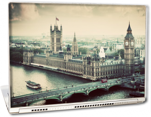 Naklejka na laptopa - London, the UK. Big Ben, the Palace of Westminster. Vintage