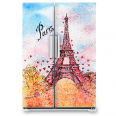 Naklejka na lodówkę - vintage postcard. watercolor illustration. Paris,France, Eiffel Tower