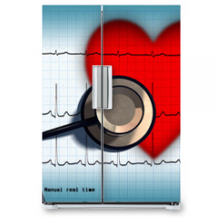 Naklejka na lodówkę - Stethoscope and ECG over a stylized hearth. Digital illustration