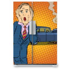Naklejka na lodówkę - Car accident man panic