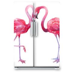 Naklejka na lodówkę - watercolor illustration of a flamingo