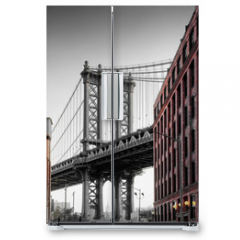 Naklejka na lodówkę - Manhattan Bridge from Washington Street, Brooklyn