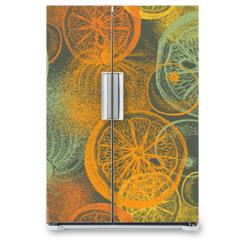 Naklejka na lodówkę - Wallpaper seamless pattern with hand drawn oranges citrus
