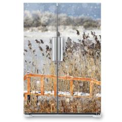 Naklejka na lodówkę - winter landscape in the background field