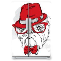 Naklejka na lodówkę - Funny bulldog vector. Bulldog wearing a hat with glasses and tie.