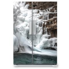 Naklejka na lodówkę - Canyon Frozen Water Fall