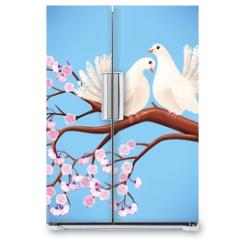 Naklejka na lodówkę - Two white doves on the branch