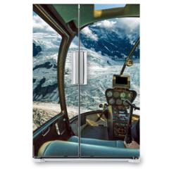 Naklejka na lodówkę - Helicopter cockpit flying. Spectacular glaciers of Denali National Park, Alaska, United States.