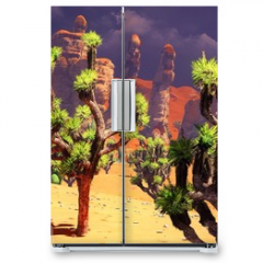 Naklejka na lodówkę - Joshua trees on desert