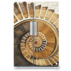 Naklejka na lodówkę - Abstract spiral staircase of wood texture