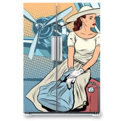 Naklejka na lodówkę - Lady traveler at the airport