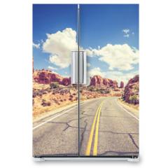 Naklejka na lodówkę - Retro stylized scenic road, Arches National Park, USA