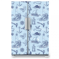 Naklejka na lodówkę - marine vector seamless background with lighthouse and seagulls