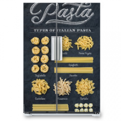 Naklejka na lodówkę - Different types of Italian uncooked pasta on black slate stone background with white chalk lettering, top view.