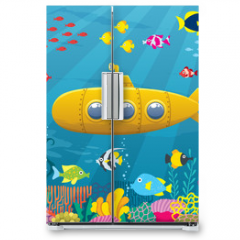 Naklejka na lodówkę - Submarine Background / Cartoon yellow submarine underwater.