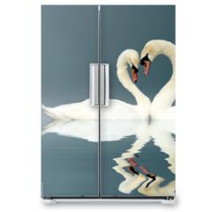 Naklejka na lodówkę - Love Swans