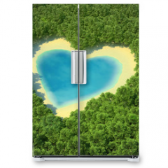 Naklejka na lodówkę - Heart-shaped pond in a tropical forest