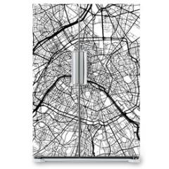 Naklejka na lodówkę - Paris, France, Monochrome Map Artprint
