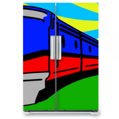 Naklejka na lodówkę - Train Pop Art