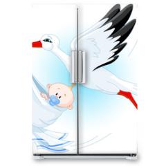 Naklejka na lodówkę - Stork delivering a newborn baby boy