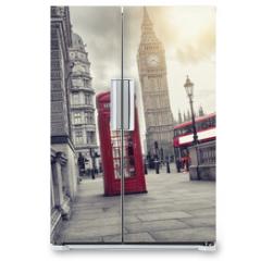 Naklejka na lodówkę - phone box and big ben, london, uk