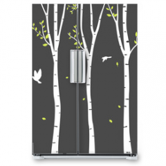 Naklejka na lodówkę - Birch Tree with deer and birds Silhouette Background