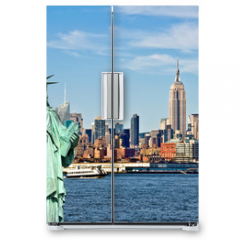 Naklejka na lodówkę - New York skyline and the Statue of Liberty, New York City collage, travel and tourism postcard concept, USA
