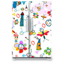 Naklejka na lodówkę - background for kids