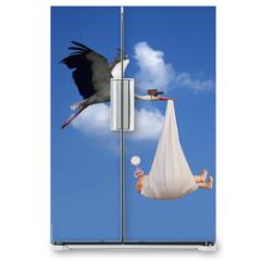Naklejka na lodówkę - Stork & Baby