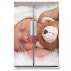 Naklejka na lodówkę - sleeping newborn
