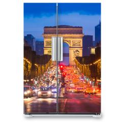 Naklejka na lodówkę - Champs Elysees and Arc de Triomphe, Paris