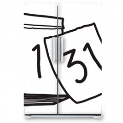 Naklejka na lodówkę - calendar / cartoon vector and illustration, black and white, hand drawn, sketch style, isolated on white background.