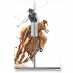 Naklejka na lodówkę - Cowboy riding a horse ride calf roping watercolor painting illustration isolated on white background