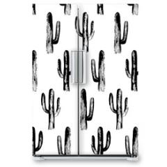 Naklejka na lodówkę - Black and white cactus. Sketch pattern. Botanical background