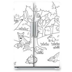 Naklejka na lodówkę - Cartoon forest coloring vector illustration