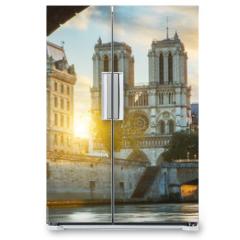 Naklejka na lodówkę - Notre dame de Paris and Seine river in Paris, France