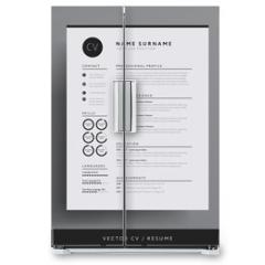 Naklejka na lodówkę - Elegant CV / resume template minimalist black and white vector