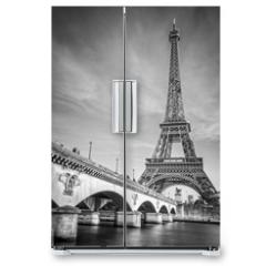 Naklejka na lodówkę - Iena bridge and Eiffel tower, black and white photogrpahy, Paris France
