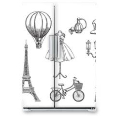 Naklejka na lodówkę - Travel to France hand drawn isolated design elements. Paris sketch vector illustration