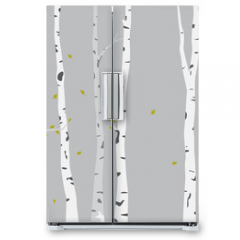 Naklejka na lodówkę - Birch Tree Silhouette Background