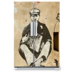 Naklejka na lodówkę - accordéoniste
