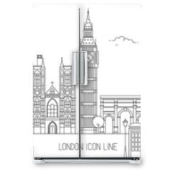 Naklejka na lodówkę - London Thin Line Vector Skyline