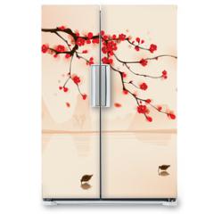 Naklejka na lodówkę - oriental style painting, plum blossom in spring