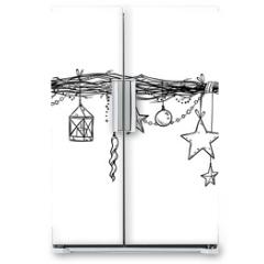 Naklejka na lodówkę - Christmas and New Year decoration. Festive garland vector sketch.