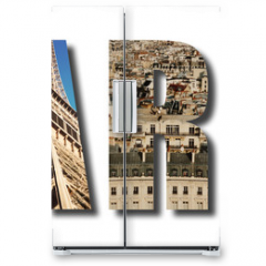 Naklejka na lodówkę - Paris France collage on white