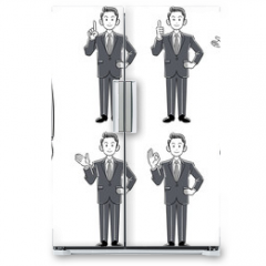 Naklejka na lodówkę - 若手ビジネスマンのポーズ_7種類のセット モノクローム グレースケール